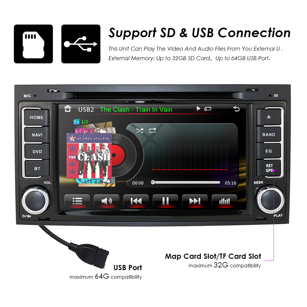 7 car dvd player radio gps navi for vw touareg t5. Black Bedroom Furniture Sets. Home Design Ideas