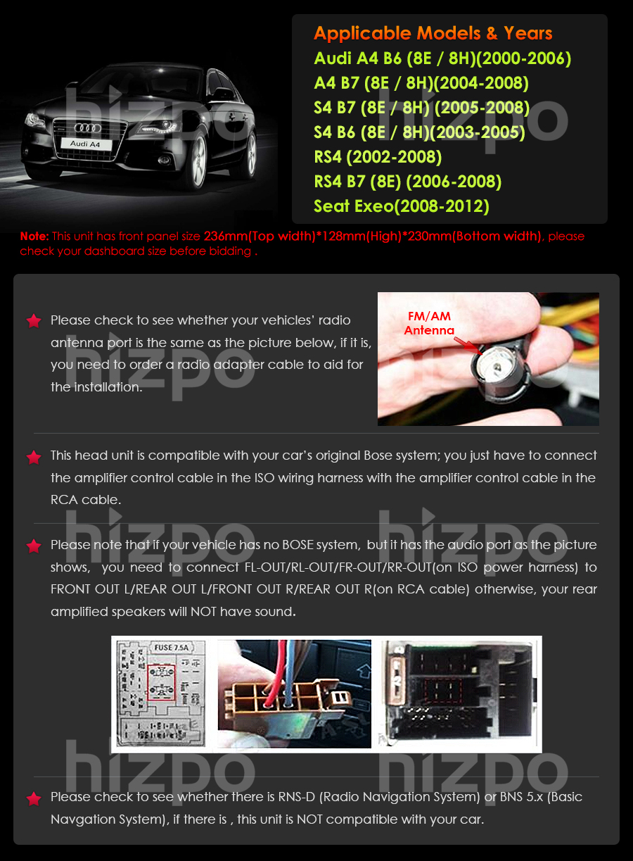 7 Touchscreen Audi A4 2002 03 2008 Car Stereo Gps Bluetooth Dvd Fuse Box Front Panel Size 236mmtop Width128mmhigh230mmbottom Width Package 320mm250mm170mm