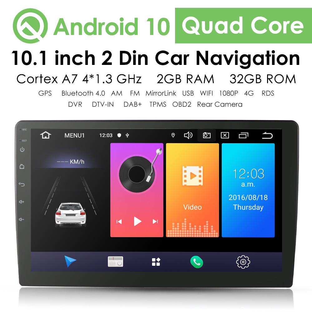"""O CAM 10.1/"""" Android 8.1 4Core Double 2 Din Car GPS Stereo Radio Wifi 1080p DAB"""