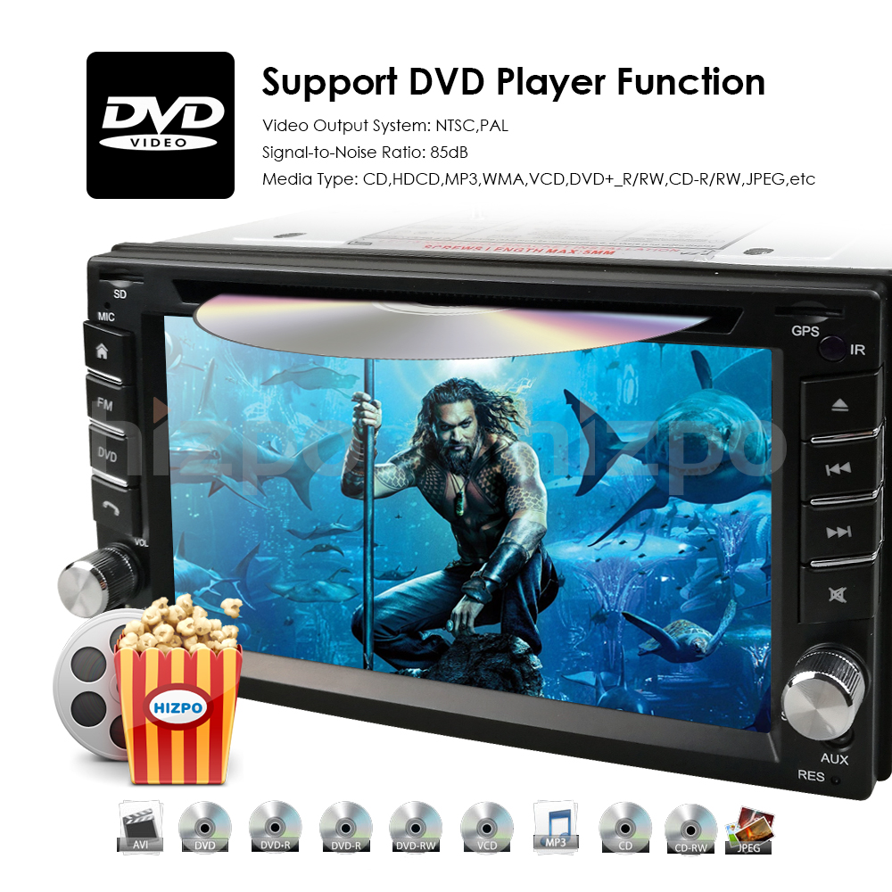 Details about HIZPO GPS Navigation HD Double 2DIN Car Stereo DVD Player BT  iPod MP3 TV+Camera