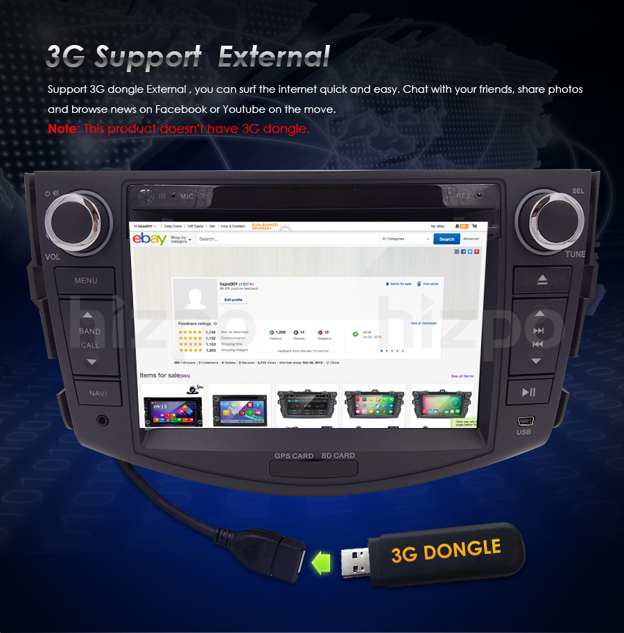 2 DIN Car Stereo Head Unit DVD Player GPS 3G RDS SWC For